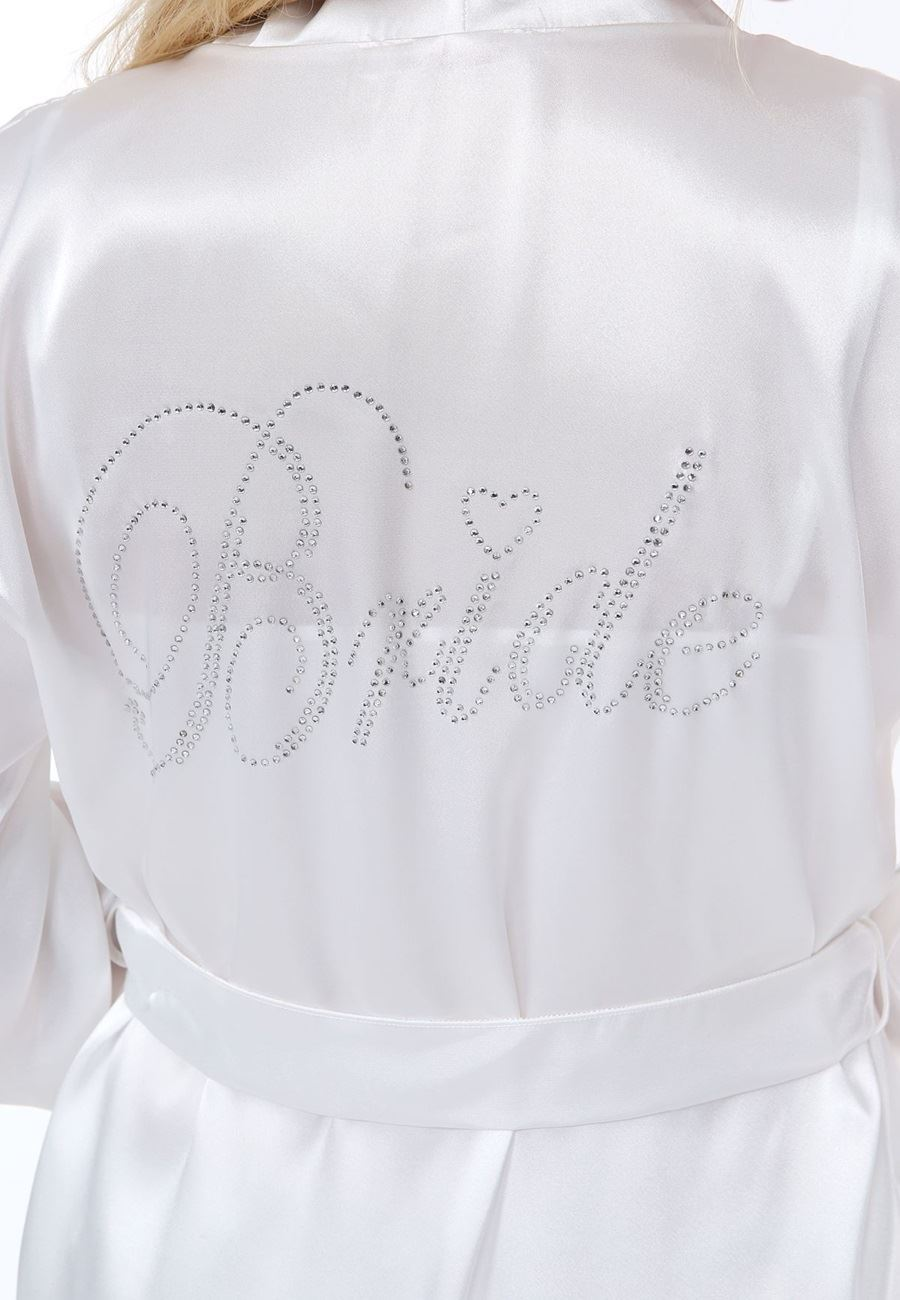 Asimod Kadın Üçlü Saten Bride Babydoll Sabahlık Takım