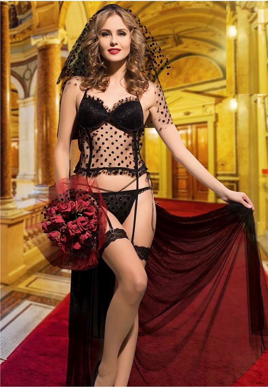 Vip Madame Kadın Jartiyerli Tüllü Kostüm