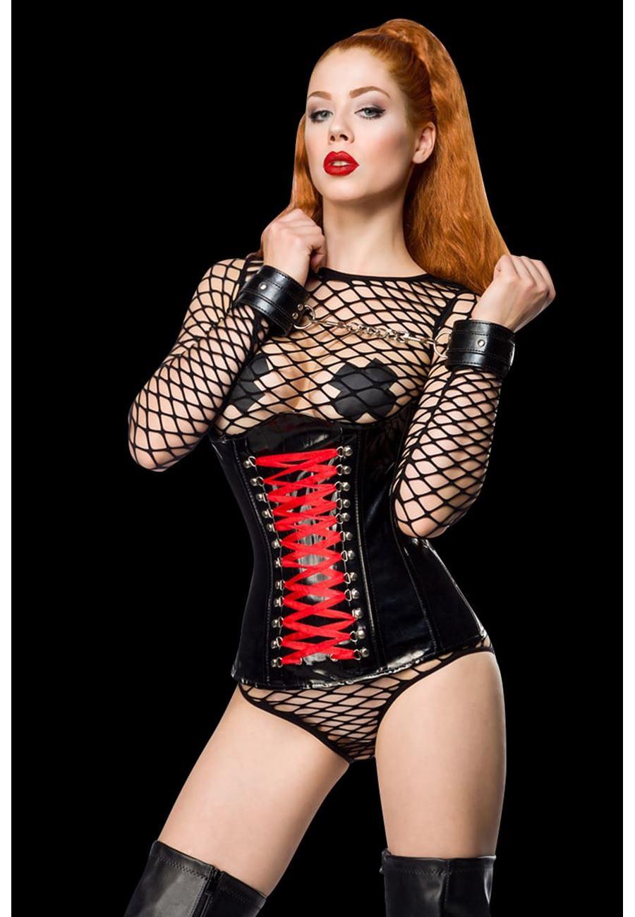 Vip Madame Kadın Deri Korseli Örümcek Fileli Fantazi Kostüm