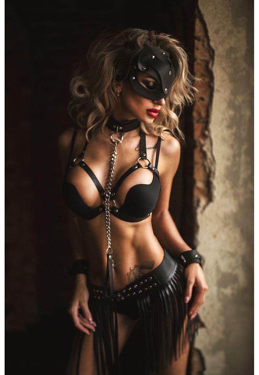 Vip Madame Kadın Pusy Cat Maskeli Deri Kostüm Set