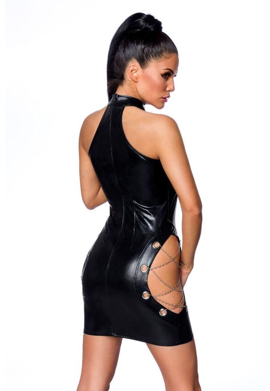 Vip Madame Kadın Zincir Detaylı Fantezi Deri Elbise