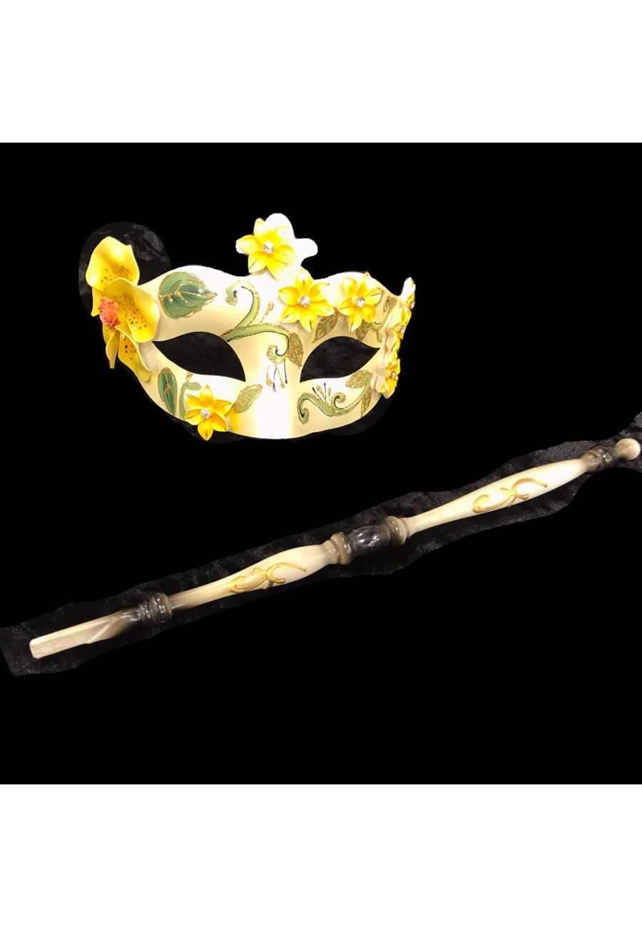 Vip Madame Kadın Ahşap Tutaçlı maske -