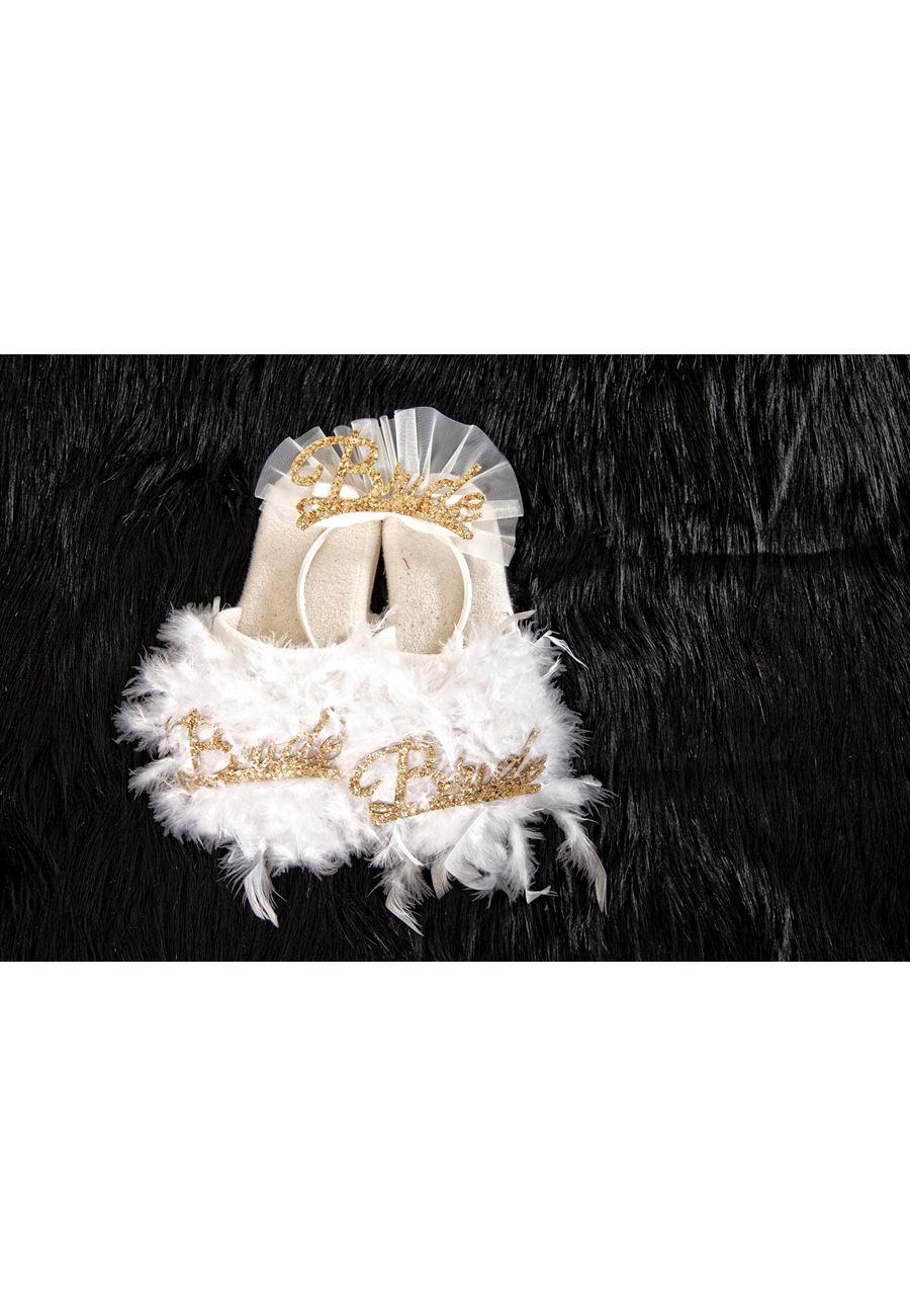 Asimod Kadın Bride Havlu Terlik ve Bride Taç İkili Takım