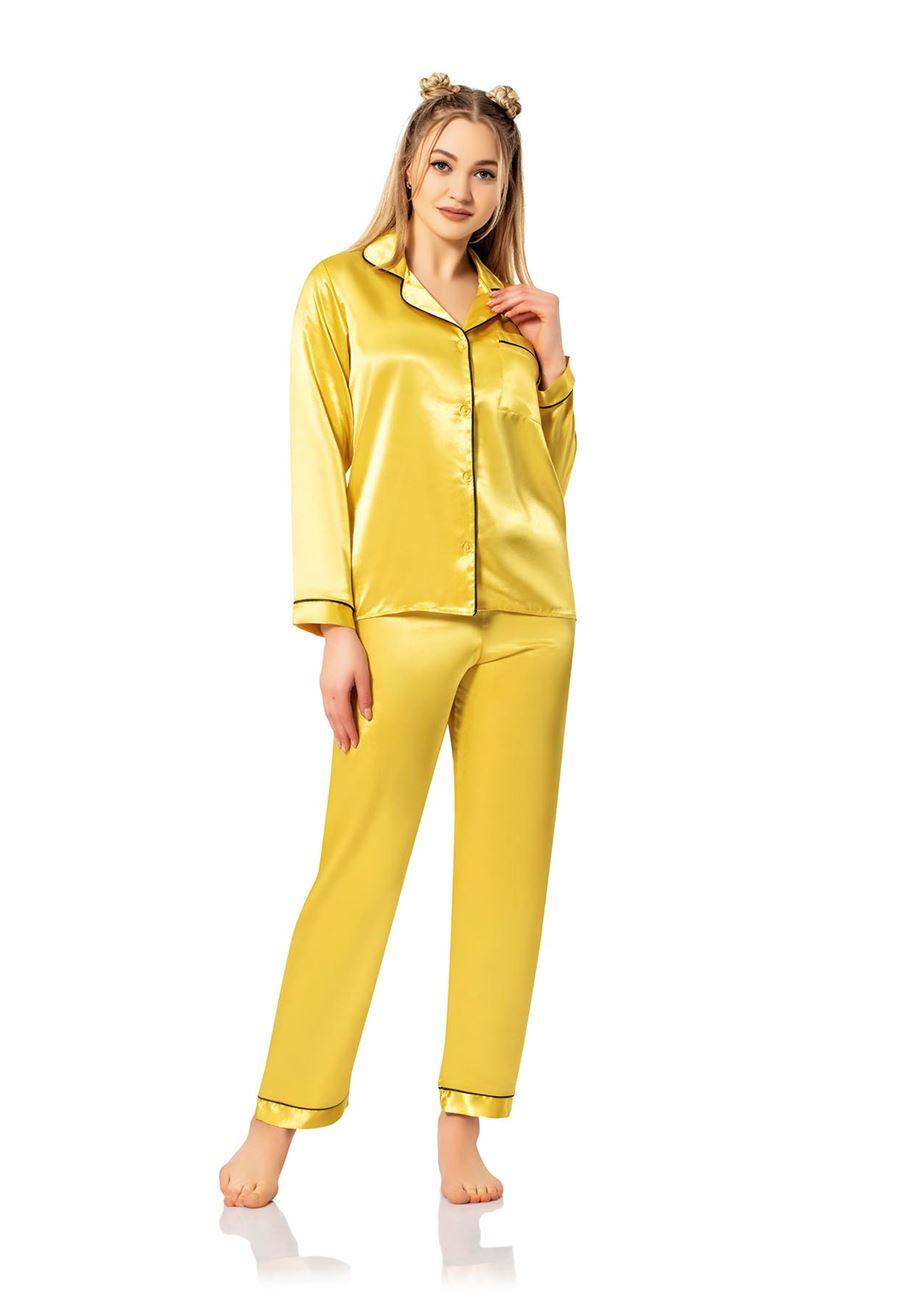 Vip Madame Kadın Uzun Kollu Düz Saten Pijama Takım