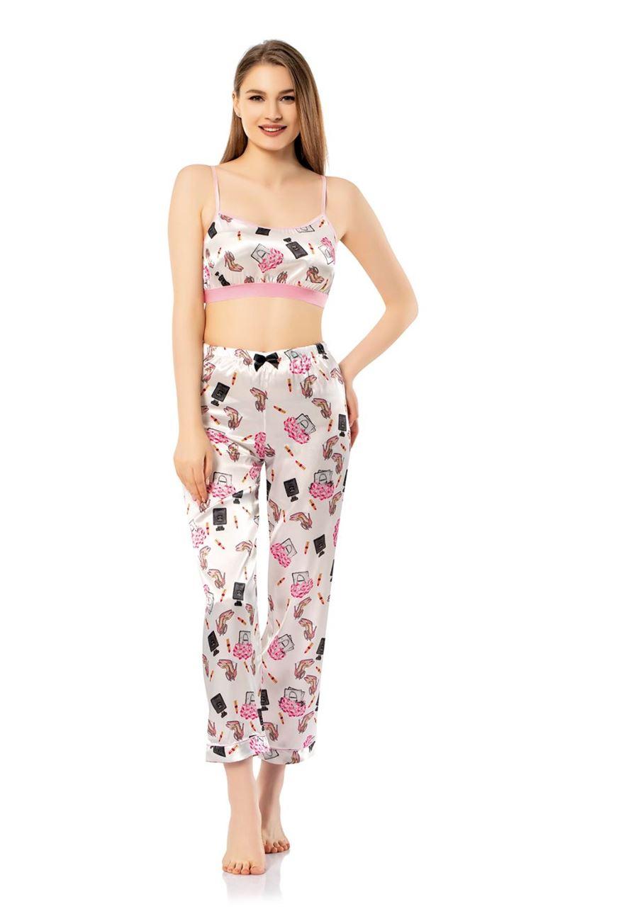 Vip Madame Kadın Paçası Lastikli Askılı Desenli Pijama Takım