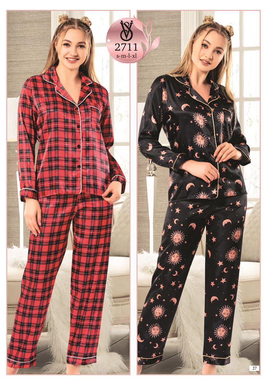Vip Madame Kadın Uzun Kollu Desenli Saten Pijama Takım