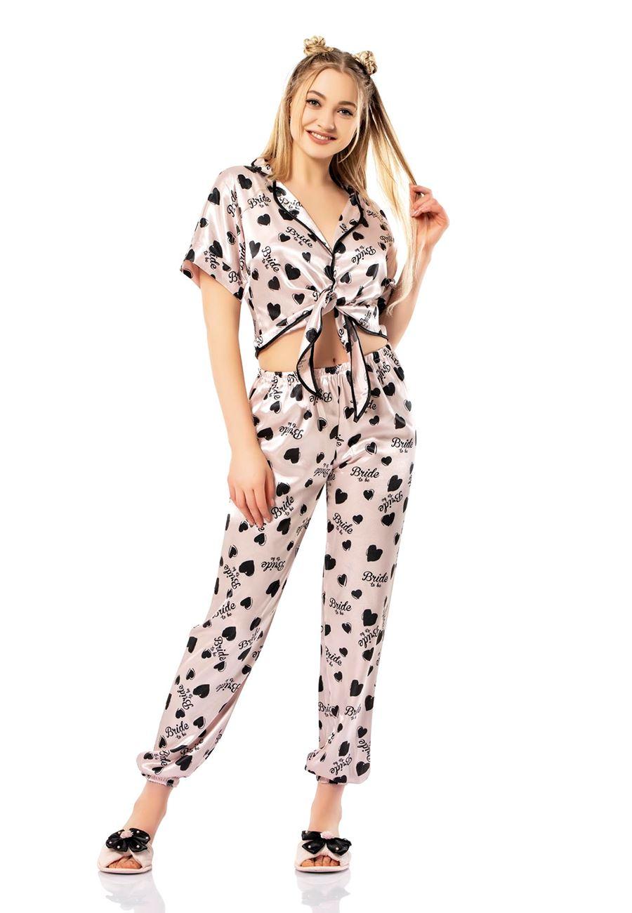 Asimod Kadın Bride Önden Bağlamalı Pijama Takım
