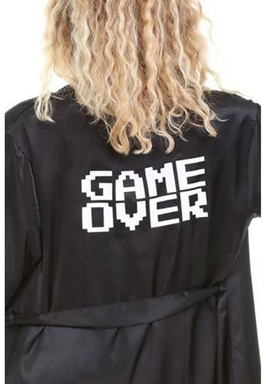 Asimod Kadın Game Over Baskılı Kısa Saten Sabahlık
