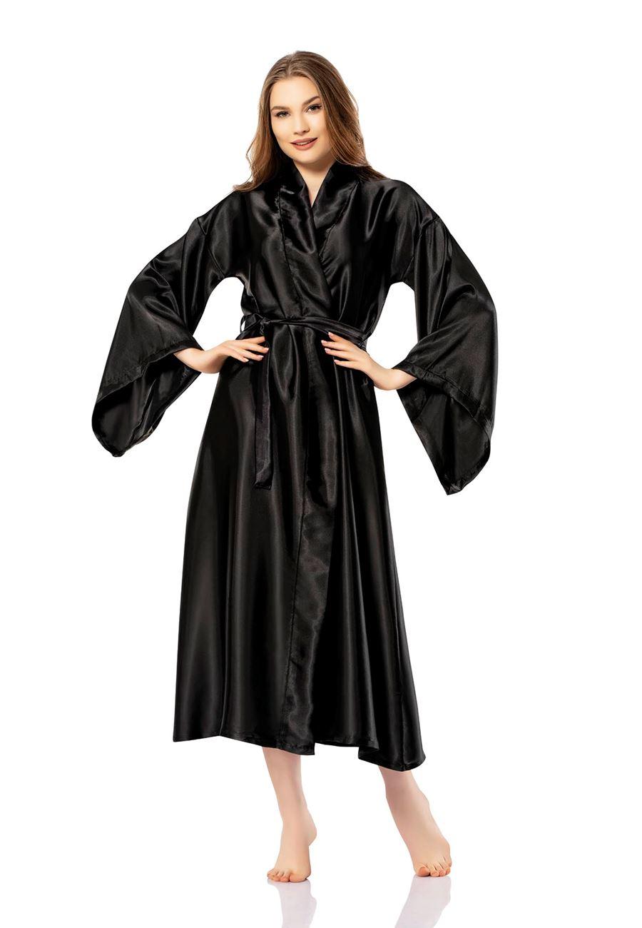 Vip Madame Asya Düz Saten Kimono