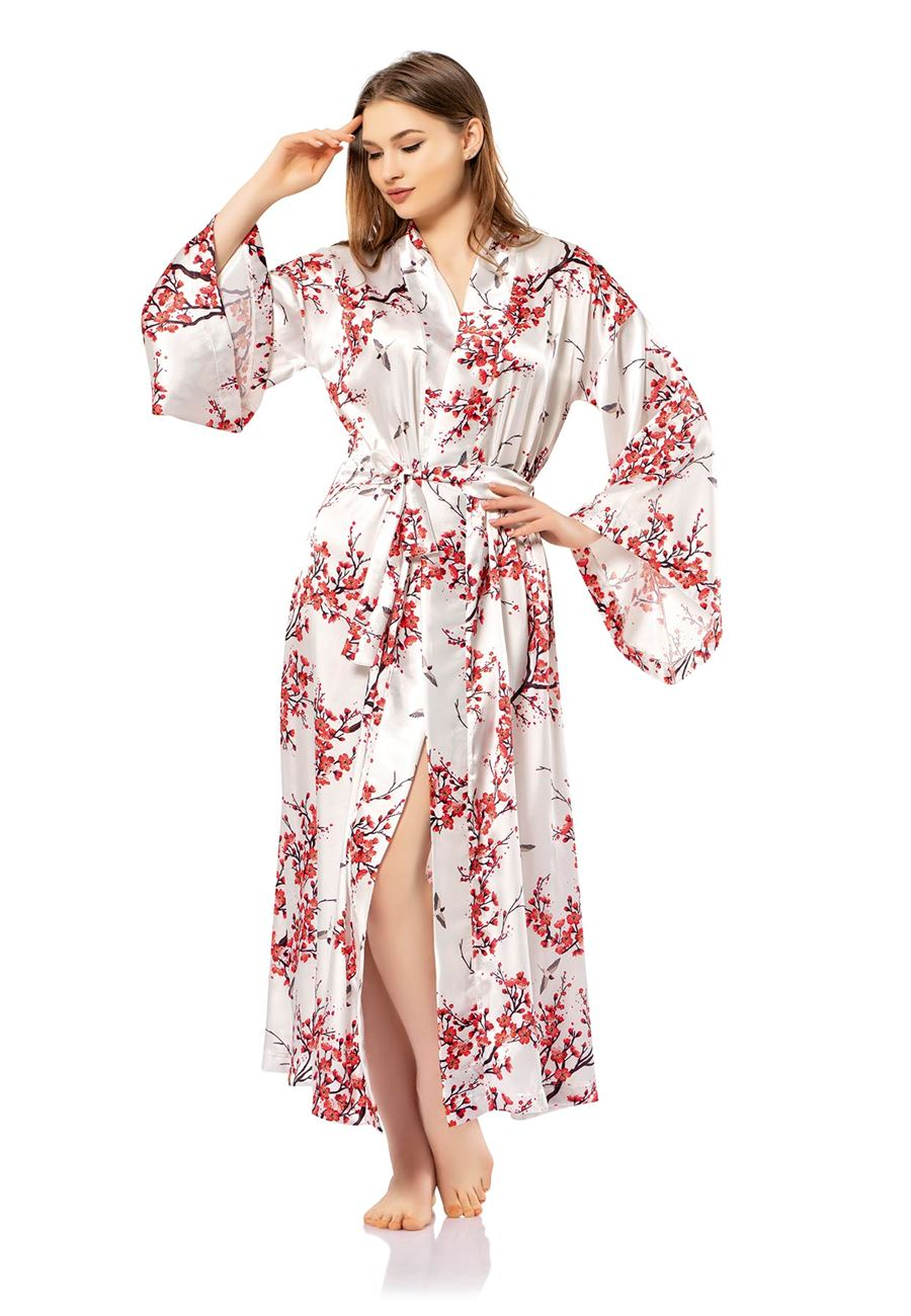 Vip Madame Kadın Baskılı Saten Kimono
