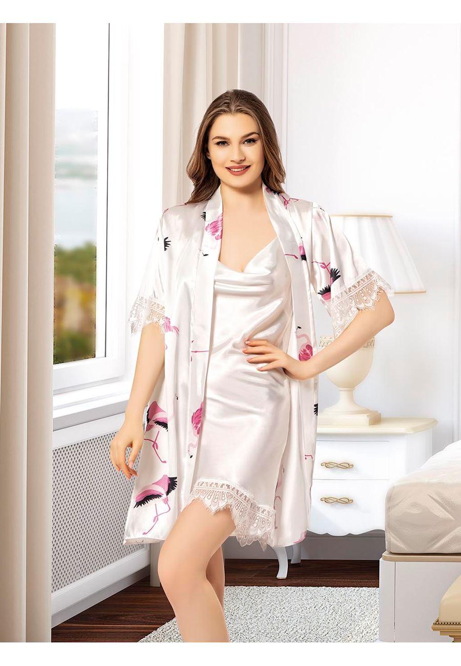 Vip Madame Kadın Desenli Sabahlık Degaje Gecelik Takım