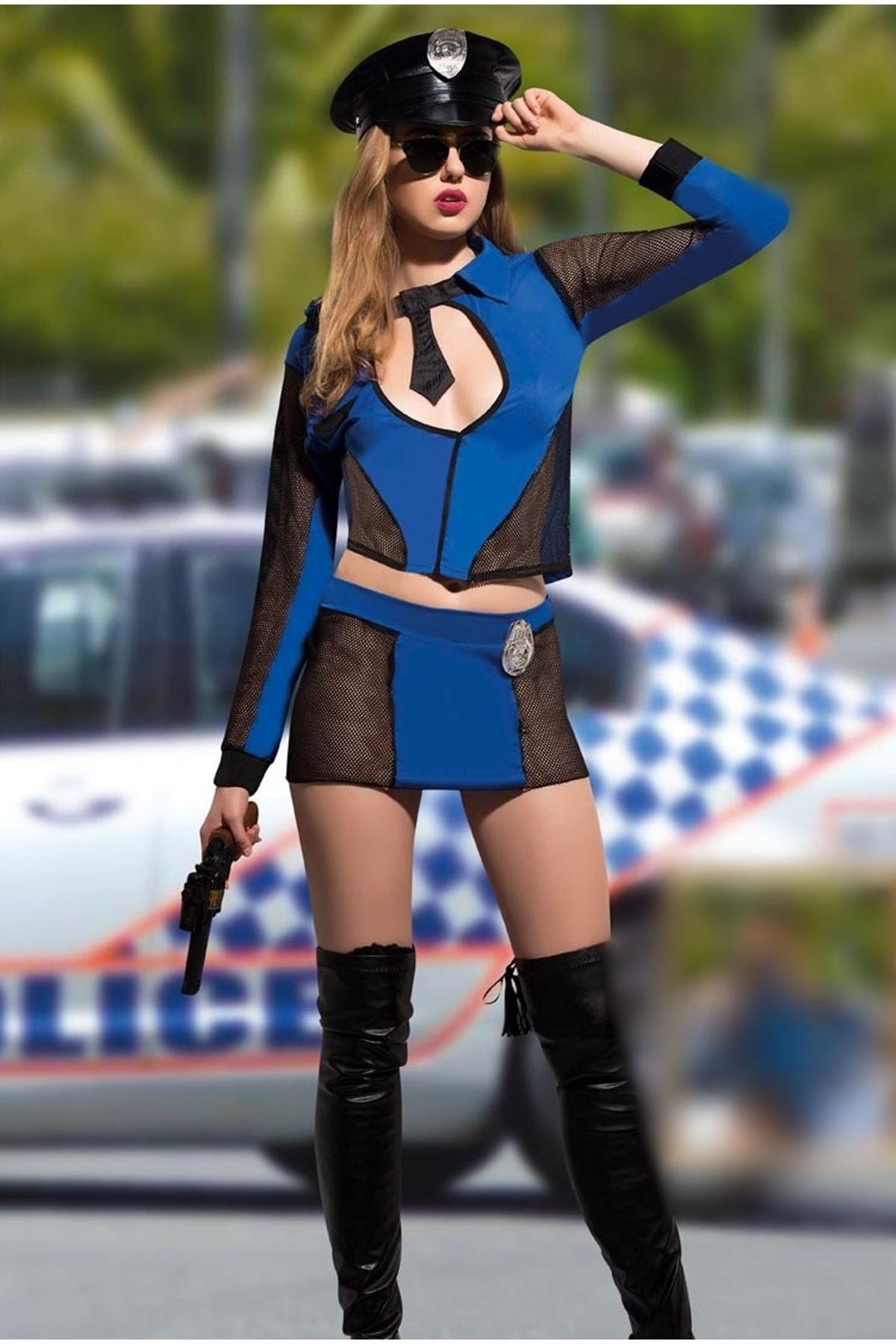 Vip Madame Kadın Fantezi Polis Kostüm