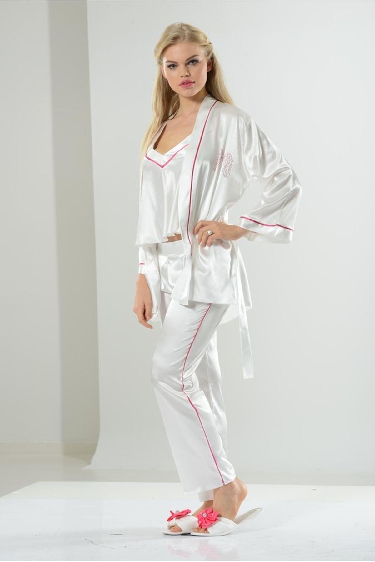 Asimod Kadın Bride Saten 3'Lü Sabahlık Pijama Takımı