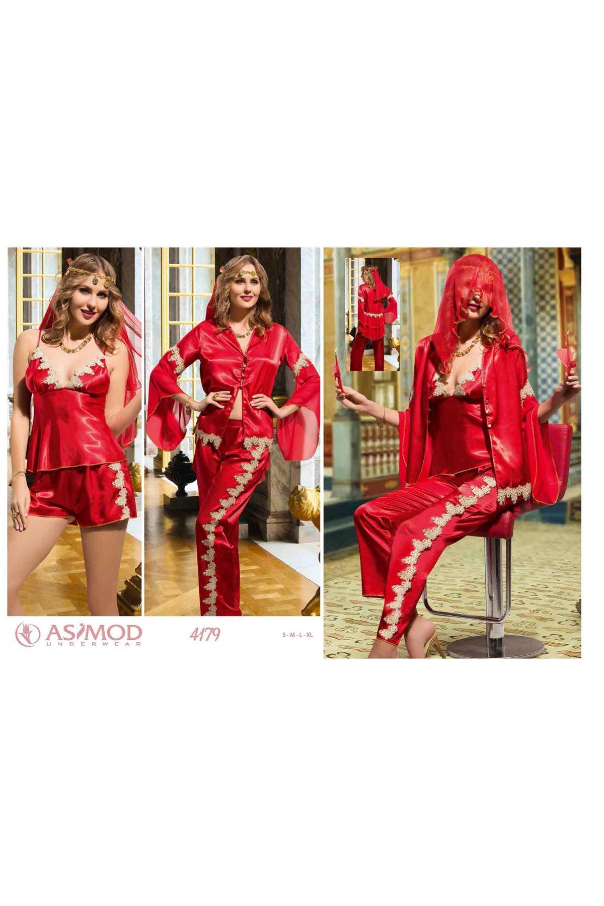 Asimod Kadın 5'Li Saten Kına Pijama Takım Seti